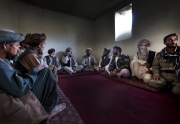 IMAM SHAHIB, AFGHANISTAN-OCTOBER, 2012: Commandant Abdul Ghyas Jan Aqa is attending a Shura with the tribal elders of Musa Qala village. The village has the reputation of hiding many talibans. (Photo by Veronique deViguerie/Reportage by Getty Images)
