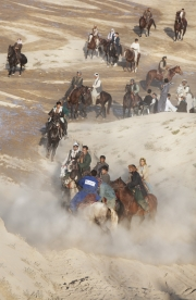 KUNDUZ, AFGHANISTAN-NOVEMBER, 2012: The buzkashi, the game of the warlords is a rare and popular distraction in northern Afghanistan. Warlords have their team of chopendozes and horses fighting over the dead body of a goat. (Picture by Veronique de Viguerie/Reportage by Getty Images)