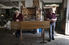 MULHOUSE, FRANCE- 5 APRIL 2020: In the Lantz, workshop in Pfasttat, the team is getting the coffins ready for the afternoon. In coronavirus time, the team is working 10 to 12 hours per day without a break.  Bouli and Didier. They have 6 to 10 deaths to deal with per day, when they had 1 before...(Picture by Veronique de Viguerie/Getty Images)