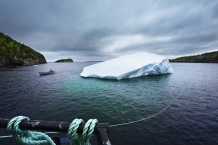 SWEET BAY, NEWFOUNDLAND-JUNE, 2014: The new iceberg found by Ed Kean is attached to the barge. (Picture by Veronique de Viguerie/Reportage by Getty Images)