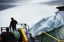 SWEET BAY, NEWFOUNDLAND-JUNE, 2014: The barge is attached to the new iceberg found by Ed Kean is attached to the barge. (Picture by Veronique de Viguerie/Reportage by Getty Images)
