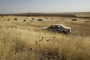 MOSUL, IRAQ- JULY, 2017: At the checkpoint between Kurdistan and Iraq, abandoned cars in a field...(Picture by Veronique de Viguerie/Reportage by Getty Images)