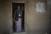 CHIBOK, NIGERIA-JUNE, 2014:  Roufkatou is holding in front of her daughter's bedroom, Saratou who was kidnapped on the 14th of April. (Picture by Veronique de Viguerie/Reportage by Getty Images).