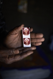 CHIBOK, NIGERIA-JUNE, 2014:  Naomi is holding her daughter's picture Moda who was kidnapped on the 14th of April. (Picture by Veronique de Viguerie/Reportage by Getty Images).