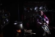 NA, NEPAL-APRIL, 2015: Mizarni, vient d'installer ses quartiers d'été au village de Na. Elle a perdu 1 fils qui accompagnait une excursion de francais dans une avalanche en 2003, son autre fils est guide sur l'Everest. (Picture by Veronique de Viguerie/Reportage by Getty Images)