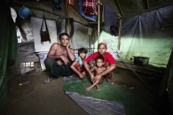 SITTWE, MYANMAR- JUNE, 2015: Da paing camp where 3000 people are living. Fatima (38), Norosala (45) have 3 children. The eldest daughter (13) was taken by a broker 6 months ago. Since then , they have no news, they don't even know if she is still alive. She was seen by neighbourgs speaking with a woman who took her. (Picture by Veronique de Viguerie/Reportage by getty Images).