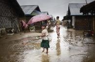 SITTWE, MYANMAR- JUNE, 2015: Bodouba camp during monsoon.  (Picture by Veronique de Viguerie/Reportage by getty Images).
