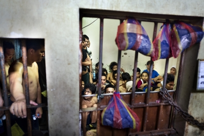 MANILA, PHILIPPINES - OCT, 2016: Overcrowded cell in a Police station in Quezon City. (Picture by Veronique de Viguerie/ Reportage by Getty Images).