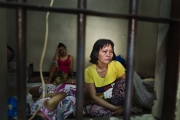 MANILA, PHILIPPINES - OCT, 2016: Serila (45) mother-of-four is in this cell since one month. Her husband is a baranguay and ashamed of her, does not visit neither allow their children to come and visit her. Overcrowded cell in a Police station in Quezon City. (Picture by Veronique de Viguerie/ Reportage by Getty Images).