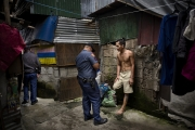 MANILA, PHILIPPINES - OCT, 2016: A suspected drug user is searched and arrested during a Tokham Operation in the Tali Papa branguay in Quezon city. (Picture by Veronique de Viguerie/ Reportage by Getty Images).