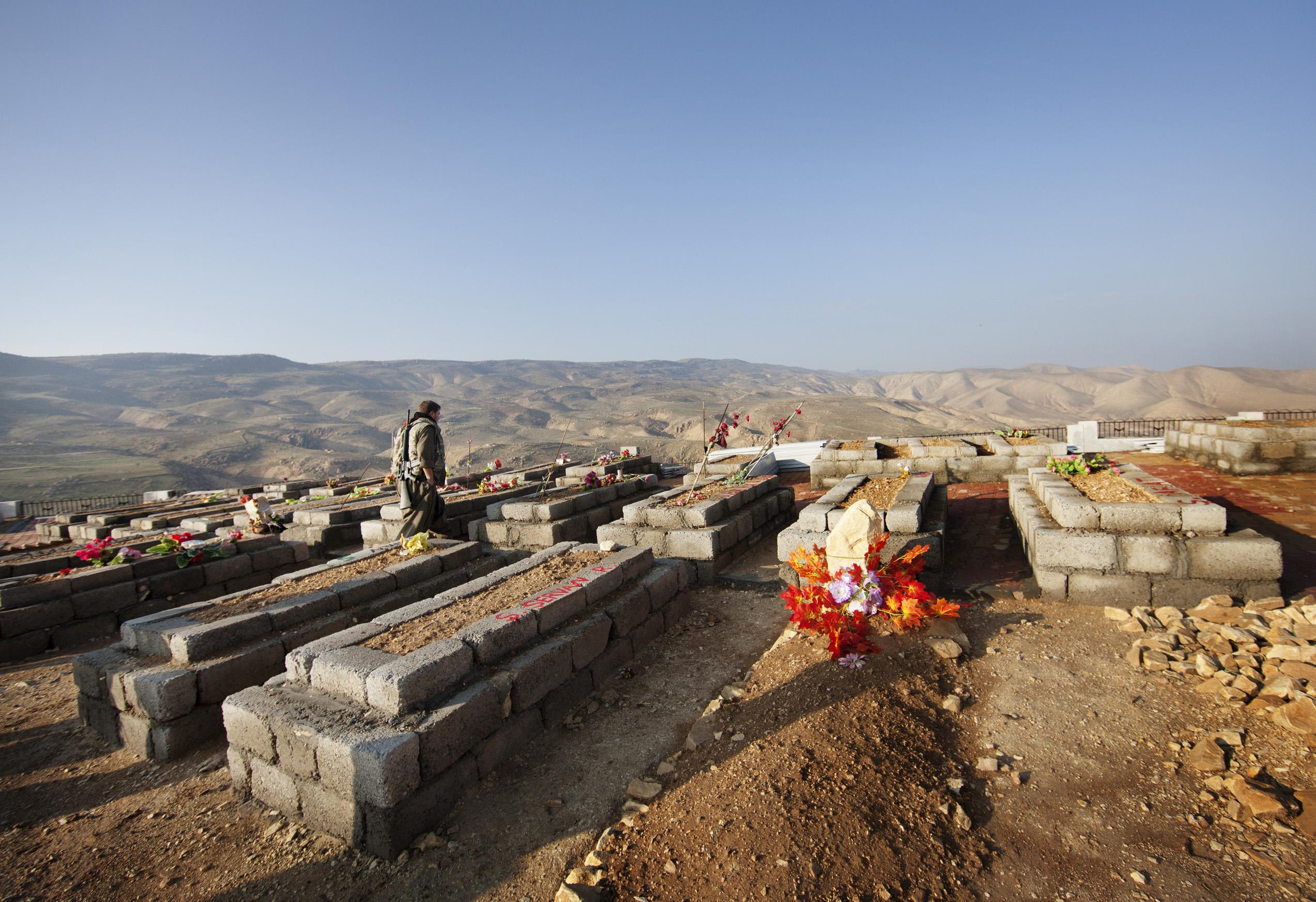SINJAR, KURDISTAN, IRAQ- FEBRUARY, 2016: Berivan, jeune combattante Yezidie est tombée au combat le 2 février 2016. Elle est entérrée avec les autres martyrs du YBS et du PKK dans un cimetierre sur le mont Sinjar .(picture by Veronique de Viguerie/ Reportage by Getty Images )