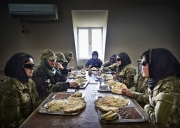 KABUL, AFGHANISTAN-APRIL, 2013: Women are eating at the Afghan Special Forces Base's canteen with the other males Special Forces. But they sleep in a specail place at the US Special Forces Base. (Picture by Veronique de Viguerie/Reportage by Getty Images)