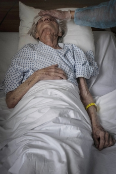 MULHOUSE, FRANCE- 3 APRIL 2020: At Saint Jean de Dieu clinic, patients with Covid are being taken care of by Benedicte and Anaelle who are very gentle and patient with their old pensionners.  (Picture by Veronique de Viguerie/Getty Images)