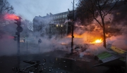 """PARIS, FRANCE - DECEMBER 01: Clashs between police nad Gilets Jaunes are happening on the streets nearby the Champs Elysees on December 1, 2018 in Paris, France. The demonstrators, known as """"gilets jaunes"""" or """"yellow vests,"""" have protested across France for the last two weeks, demanding a reduction in fuel prices. French law requires drivers to carry yellow vests in case of accident. (Photo by Veronique de Viguerie/Getty Images)"""