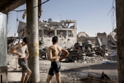 MOSUL, IRAQ- JULY, 2017:Soldiers are having a shower and washing their clothes in Mosul old city...(Picture by Veronique de Viguerie/Reportage by Getty Images)