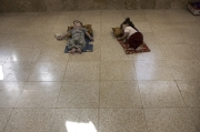 NEAR BARTELLA, IRAQ-SEPTEMBER, 2014: Two Shia kids are sleeping on the floor of a school. Their families had to flee Mosul to avoid being killed by ISIS.(Picture by Veronique de Viguerie/Reportage by Getty Images)