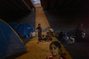 DOHOUK, IRAQ-SEPTEMBER, 2014: Yezidis refugees in Dohouk are investigating everywhere in the city. Here they are under a bridge. (Picture by Veronique de Viguerie/Reportage by Getty Images).