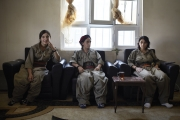 MAKHMOUR, IRAQ-SEPTEMBER, 2014: Toprak, Nujiyan and Beritan,PKK soldiers engaged in the fight against ISIS. (Picture by Veronique de Viguerie/Reportage by Getty Images)