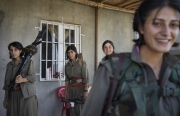 MAKHMOUR, IRAQ-SEPTEMBER, 2014: Ruken, Zehra, Toprak and Beritan,PKK soldiers engaged in the fight against ISIS. (Picture by Veronique de Viguerie/Reportage by Getty Images)