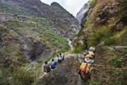 SIMIGAON, NEPAl-APRIL, 2015: Il faut grimper plus de 3 heures pour aller de Chhetchhet où s'arrête le bus à Simigaon.(Picture by Veronique de Viguerie/Reportage by Getty Images)