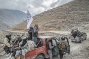 Nangahar, Afghanistan-Dec, 2019: Taliban fighters under Mollah Tarek commands are moving in a convoy to their General Quarter an abnadoned village in the middle of the mountains. (Picture by Veronique de Viguerie/Getty Reportage)