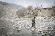 Nangahar, Afghanistan-Dec, 2019: Taliban fighters under Mollah Tarek commands at their headquarter,  an abandoned village in the middle of the mountains of Khugyanyie district. They are around 100 000 Taliban fighters in the whole country. Holding mainly rural places. (Picture by Veronique de Viguerie/Getty Reportage)