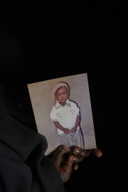 CHIBOK, NIGERIA-JUNE, 2014: Yana is holding her daughter's picture Rifkatu. She was kidnapped on the 14th of April. (Picture by Veronique de Viguerie/Reportage by Getty Images).