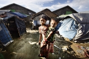 SITTWE, MYANMAR- JUNE, 2015: Da paing camp where 3000 people are living.(Picture by Veronique de Viguerie/Reportage by getty Images).