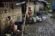 SITTWE, MYANMAR- JUNE, 2015: 500 Rahkine people displaced after the 2012 violences are still living in camps near Sittwe city. They were used to live inside the city and should be replaced somewhere nearby.(Picture by Veronique de Viguerie/Reportage by getty Images).
