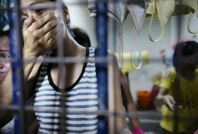 MANILA, PHILIPPINES - OCT, 2016: Vanessa (35) in a women cell since the 6th of october. She was arrested with her husband during a raid by the police. Her husband was freed after a bribe of 50000 pesos to the police. (Picture by Veronique de Viguerie/ Reportage by Getty Images).