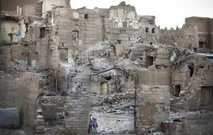 SAADA, YEMEN- 2017, OCT: Le quartier de Rahban classé au patrimoine mondial de l'UNESCO a été lourdement detruit par les bombardements aériens.The Rahban quarter, classified as UNESCO mondial heritage, heavily destroyed by airstrikes.