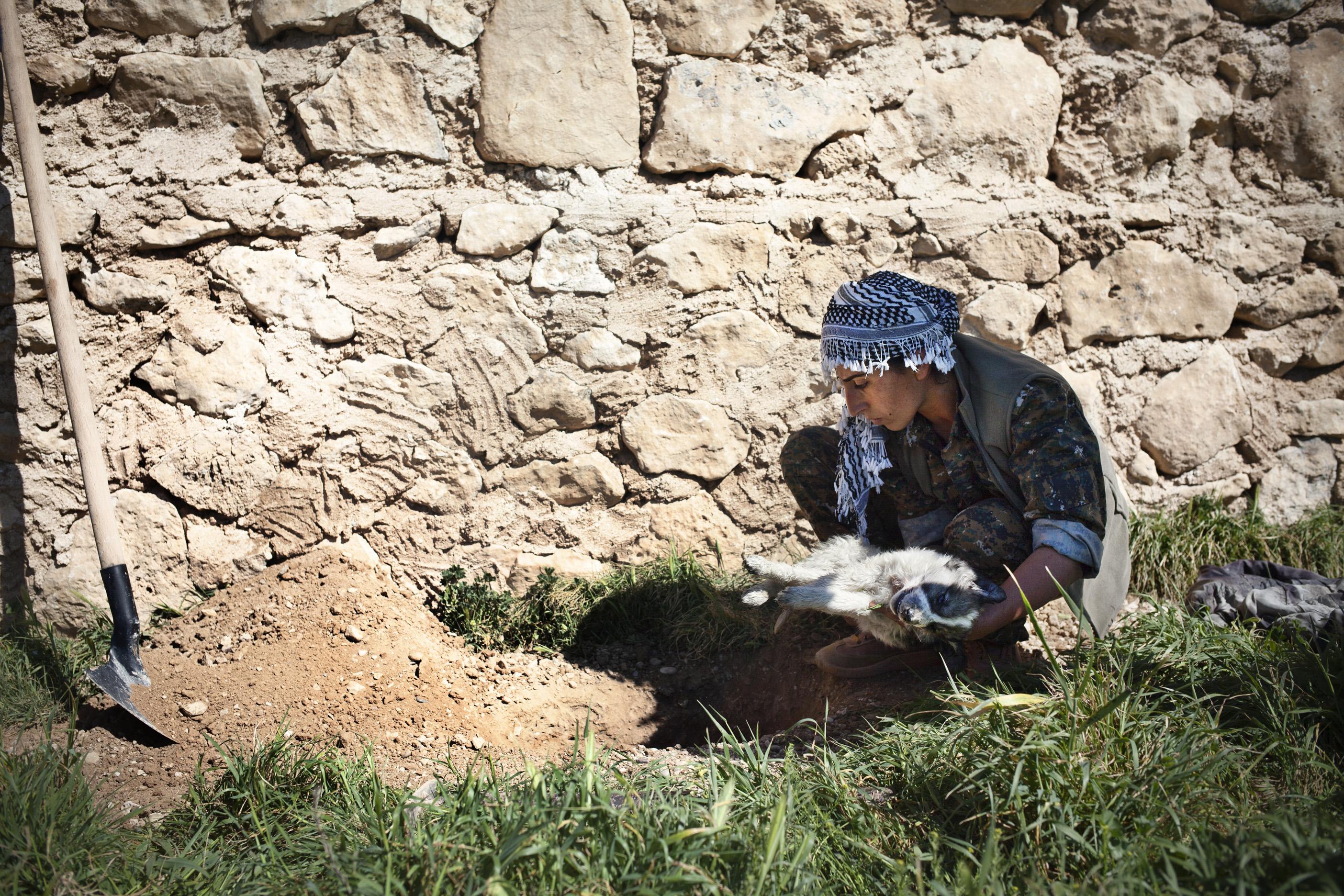 SINJAR, KURDISTAN, IRAQ- FEBRUARY, 2016: Une comabttante enterre un chiot mort sur leur base. Les combattantes du YBS dont font parti beaucoup de Yezidies attendent de prendre les villages autour de la ville de Sinjar toujours aux mains de Daech.  (picture by Veronique de Viguerie/ Reportage by Getty Images )